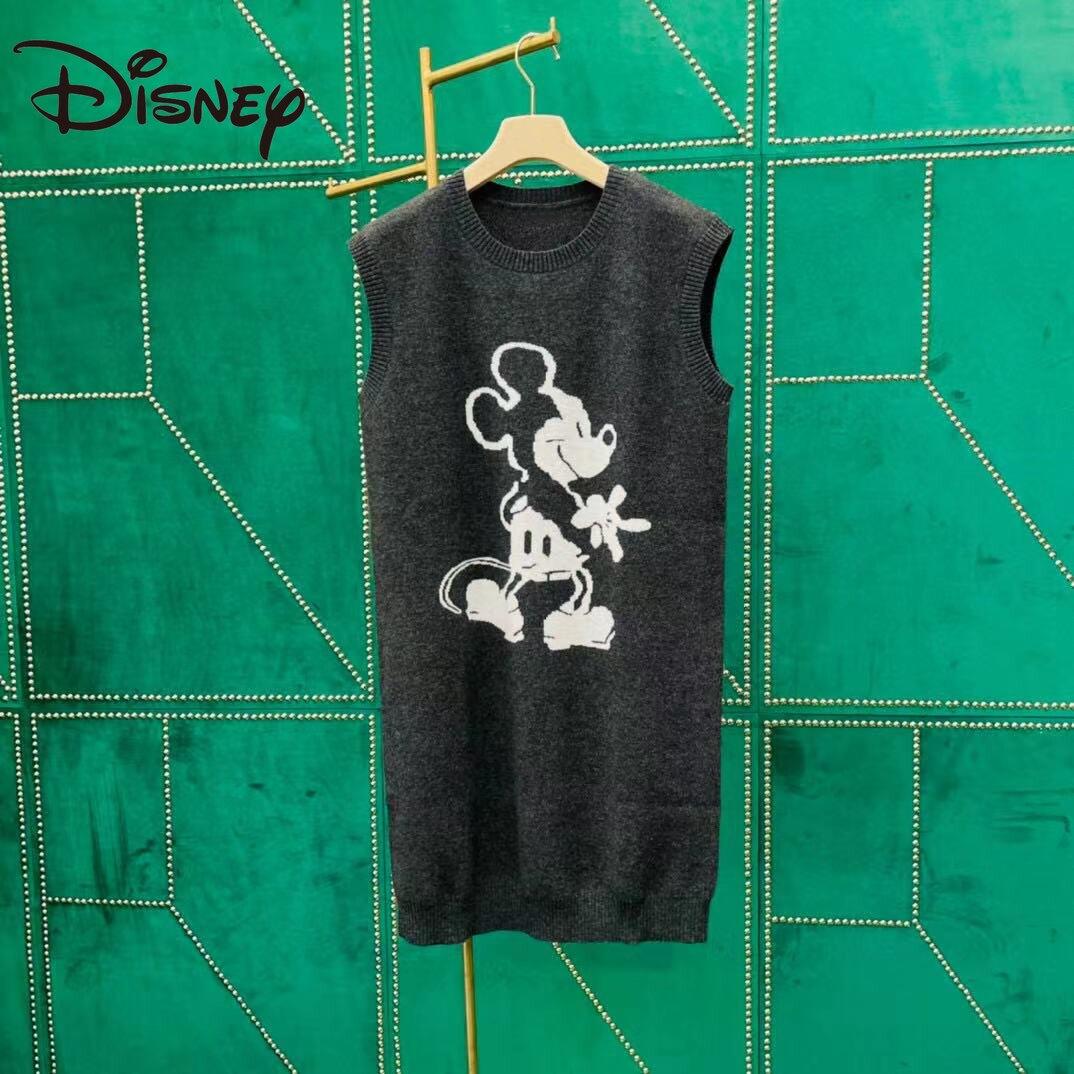 Disney's new fall/winter color matching cartoon Mickey print children's fun knit sundress sleeveless round neck dress