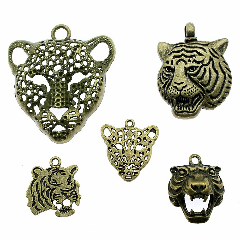 4 unids/lote colgantes de tigre de Color bronce antiguo para pulseras de cabeza de leopardo al por mayor