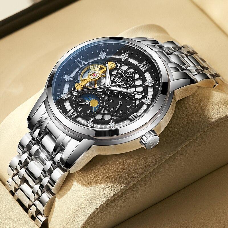 الأصلي الرجال ساعة ميكانيكية العلامة التجارية الفاخرة التلقائي ساعة رياضية الفولاذ المقاوم للصدأ مقاوم للماء ساعة رجالية Relogio Masculino
