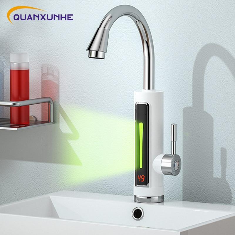 كوانكسونهي 3300 واط الكهربائية لحظة سخان مياه الحنفية 360 درجة تدوير الحمام المطبخ الحنفية عرض درجة الحرارة بالوعة