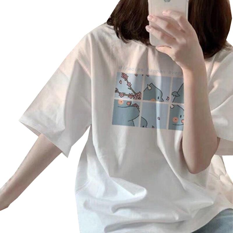 Camiseta estampada para mujer, camiseta Harajuku de verano para mujer, camiseta de manga corta, camisetas casuales para mujer, camisetas de moda con cuello redondo para chicas, camisetas