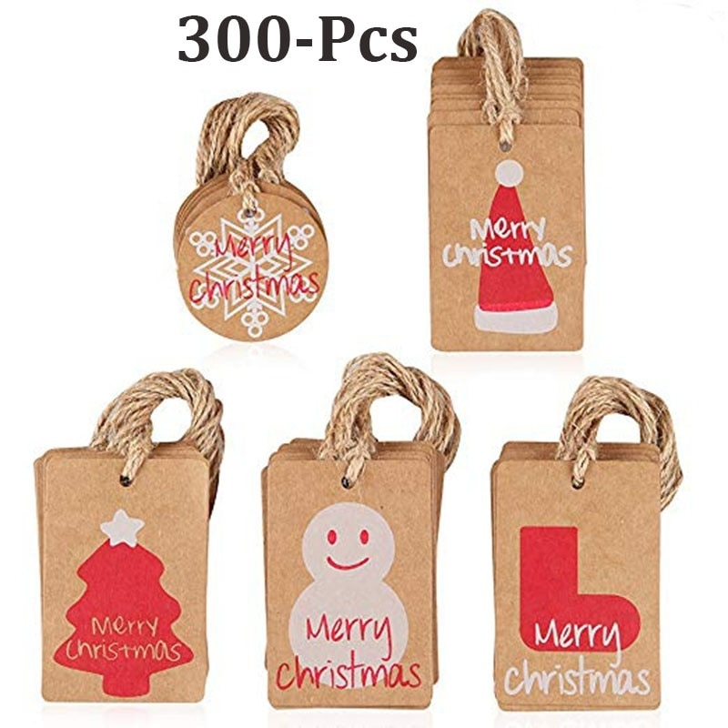 300pcs Merry Christmas Kraft Paper Tags for wedding party decoration stationery gift label festival personalized Decoration Tag