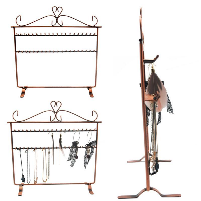 Gancho para collar estante de almacenamiento de exhibición de joyas de hierro organizador de torre de exhibición soporte de pendientes de Metal soporte de contenedor para escaparate