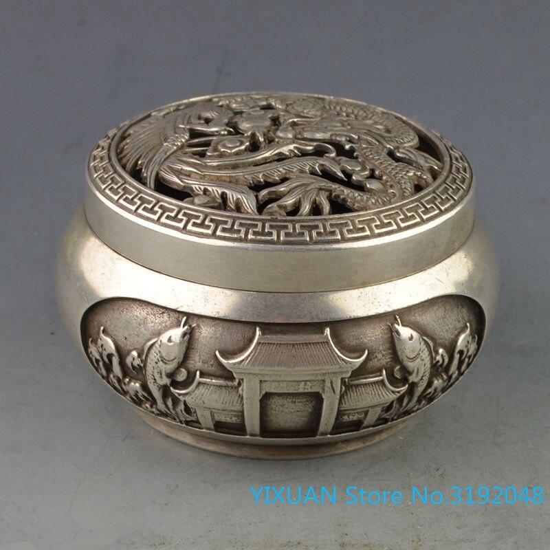 Yuyuelongmen quemador de incienso de cobre blanco colección de artículos de cobre...