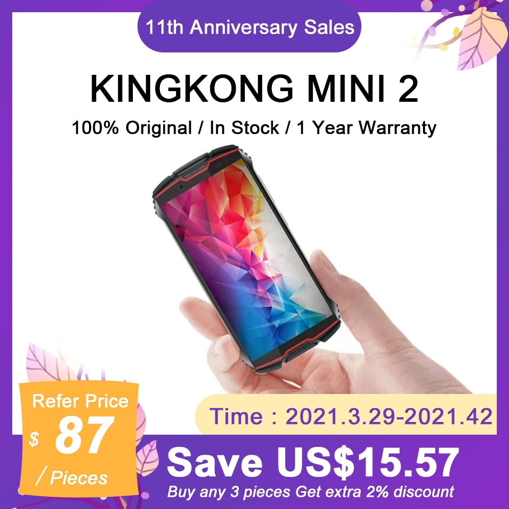 Cubot Kingkong Mini 2 Rugged Smartphone Android 10.0 Pie 4 Inch QHD Display Dust-Proof Durable Waterproof Mobile Phone 3000mAh