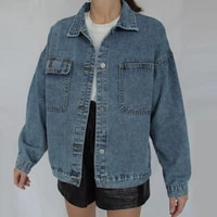 jessic jean jacket women clothes oversized jeans denim coat korean coats spring fall 2021 new jackets for women solid casual