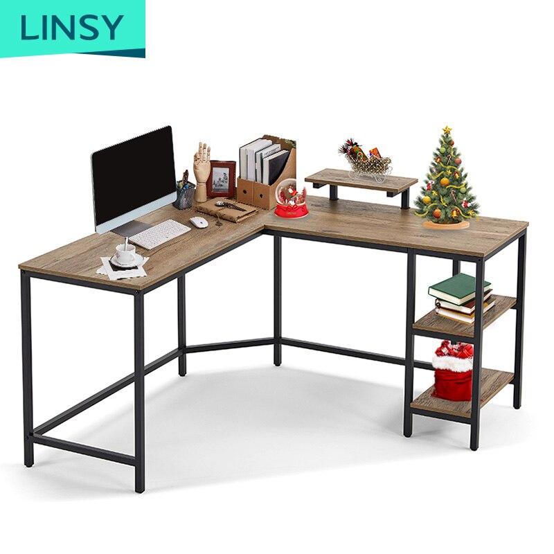 Большая офисная стойка для монитора Linsy, угловой стол 54 дюйма, L-образный компьютерный стол с полками, легкая сборка LS212V3