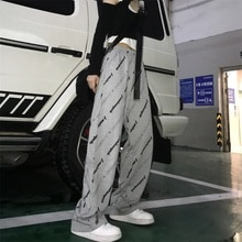 2021spring/Summer New Korean Ins Harajuku Style Full Printed Loose Casual Straight Wide Leg Pants fo