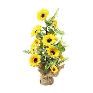 Искусственный подсолнух букет искусственных подсолнухи шелковые домашние небольшие украшения желтый 1 шт. цветочный горшок бонсай украшения вечерние свадебные туфли