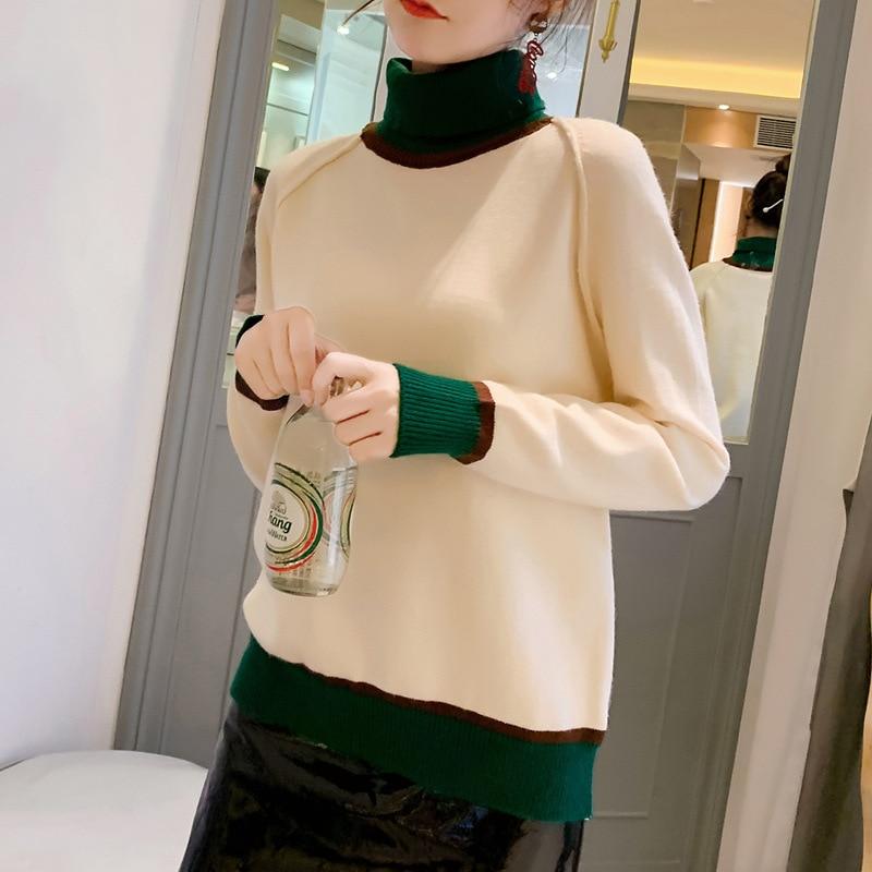 Foto Shoot Laziness-estilo suéter de cuello alto camisa Base de las mujeres 2019 Otoño e Invierno suelta-Fit jersey de colores mezclados Knittin