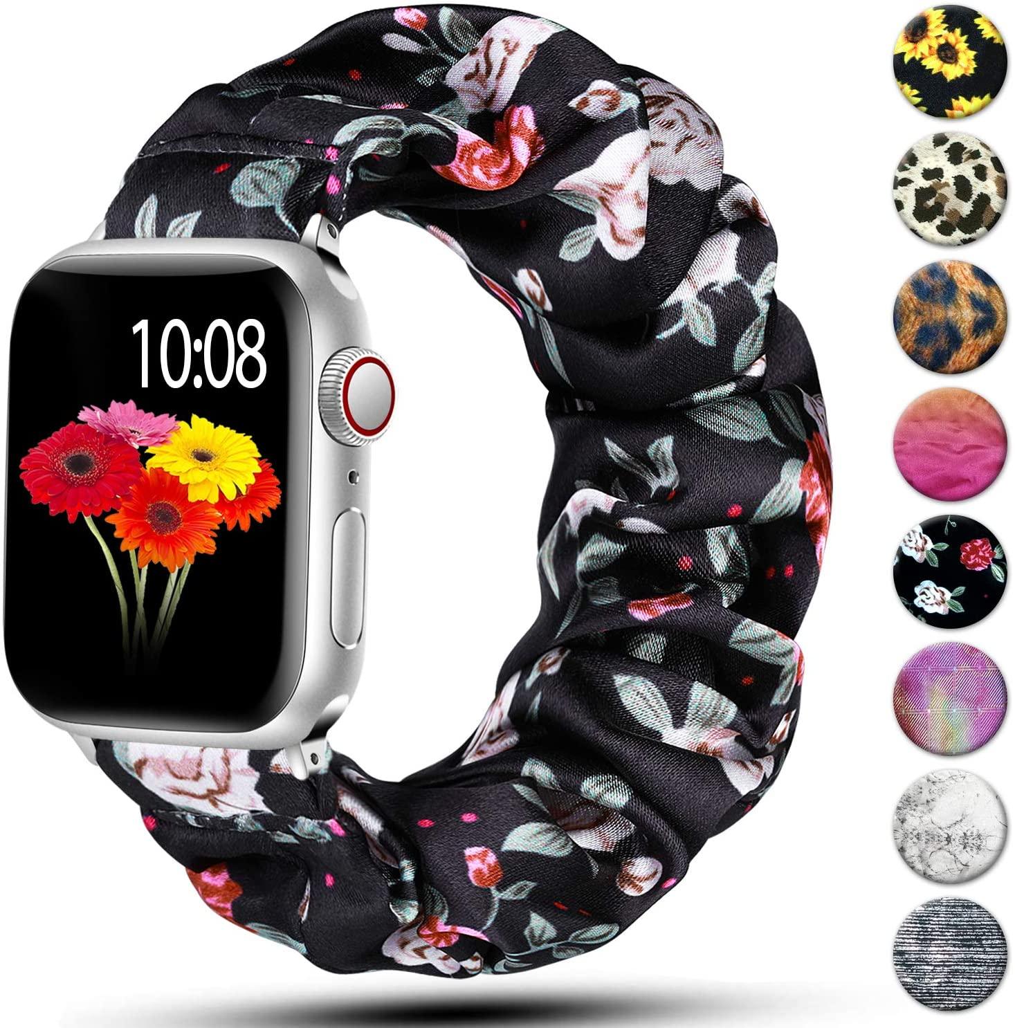 Scrunchie Strap for Apple watch band 40mm 44mm 42mm 38mm 42 mm Elastic Nylon Solo Loop bracelet iWat