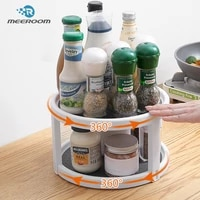kitchen rotating seasoning holder twin turntable shelf spice organizer lazy susan non skid 2 tier pantry cabinet rack cabinets
