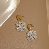 s925 needle geometric round dangle earrings for women designer creativity luxury jewelry micro inlaid zircon simple temperament