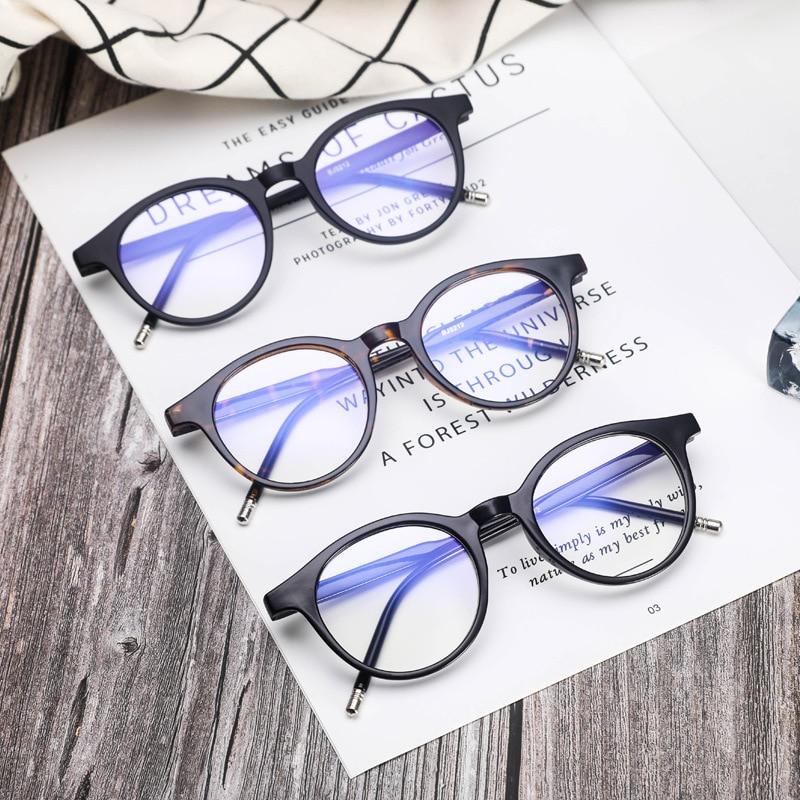 Очки с сисветильник для женщин, круглые очки, мужские винтажные искусственные очки для компьютера, оптические очки для чтения, модные очки
