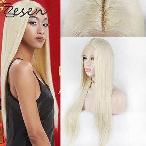 Zesen Long Straight Hair Synthetic 13*4 Lace Front Wig For Women Blonde Hair Heat Resistant Fiber For Black/White Women