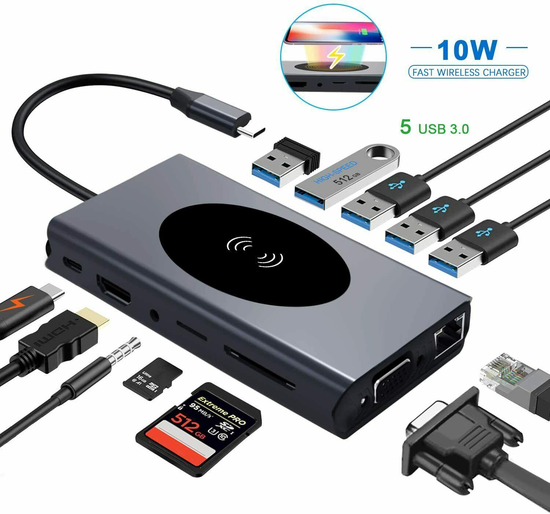 13 em 1 usb c tipo c para hdmi vga rj45 usb 3.0 leitor de cartão sd/tf com pd de carregamento para macbook pro hub usb
