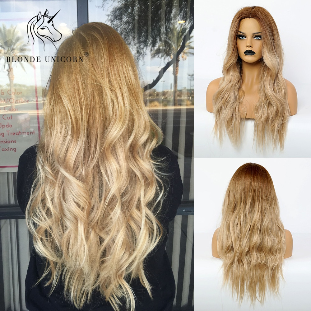 Blonde Unicorn Long Blonde Synthetic Wig for Black White Women Daily Use Middle Part Hair Wigs Water Wave Heat Resistant Fiber