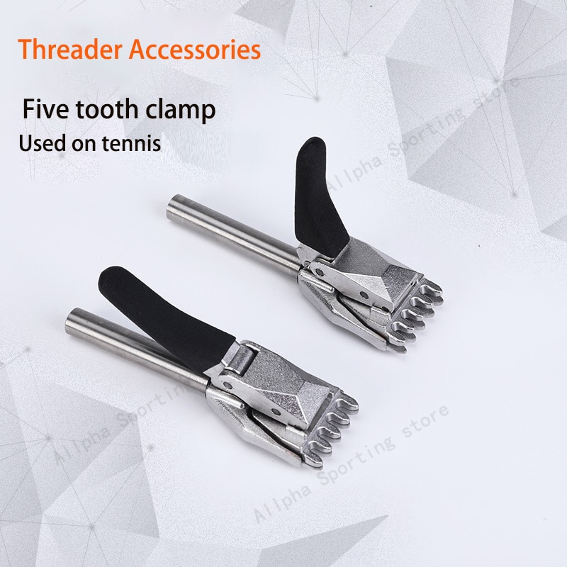 Alpha 2PCS Base Clip Tennis Stringing Machine Tools Flying Clamp Auxiliary Threader Accessories Tennis Tools Five Teeth