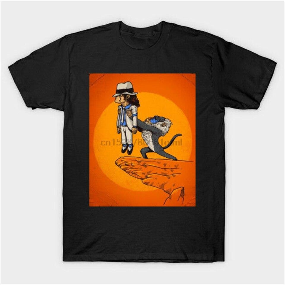 Camiseta negra divertida Michael Jackson El Rey León Rafiki Simba camiseta divertida diseño