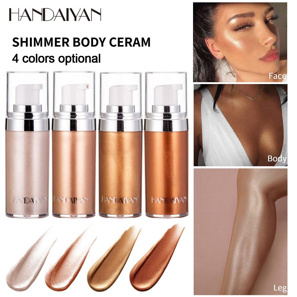 Bronceador Resaltador líquido Spray rostro y Cuerpo resutador Del Cuerpo luminizador brillo maquillaje Resaltador paleta cosmética