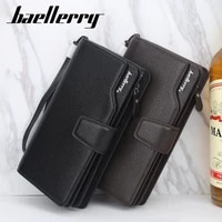 baellerry wallet men fashion long solid wallet pu leather litchi pattern rope hand bag smartphone card holder compartment wallet