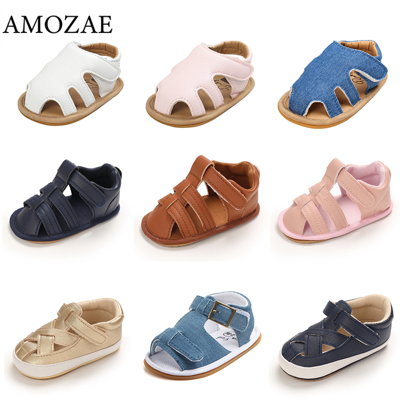 Summer Sandals Baby Boys Shoes Rubber Sole Leather Slippers for Toddler Girls Canvas Hard Bottom Fir