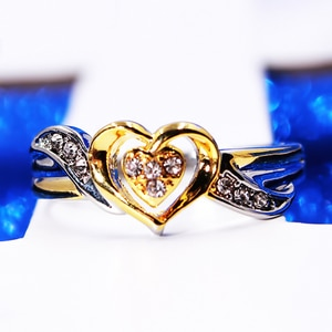 Two-tone Wedding Ring For Women Heart Shape Micro-inlaid Simulation Ring Jewelry Love Ring