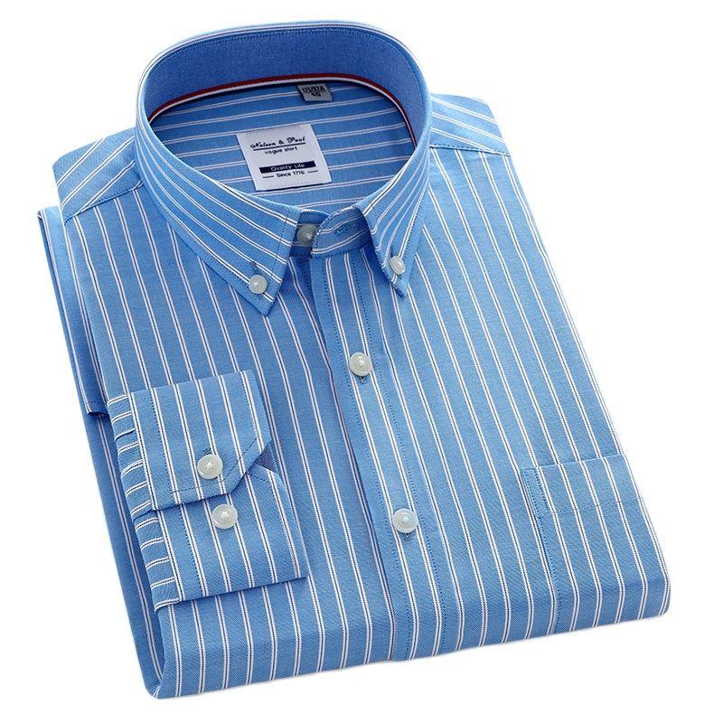 Мужская рубашка в полоску, повседневная, с длинным рукавом, 100% хлопок, деловая, Оксфорд, мужская рубашка на пуговицах, однотонная, с передним ...