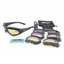 4 Lens Tactical Combat Glasses Polarized Military Paintball Shooting Goggles UV Protection Hunting H