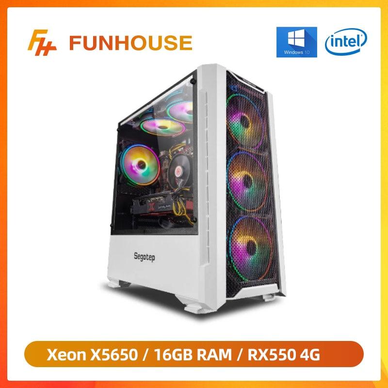 Funhouse Assembled Desktop Computer Intel Xeon X5650 6-Cores 12Threads LGA 1366/RX550/RX560 4G/8G/16
