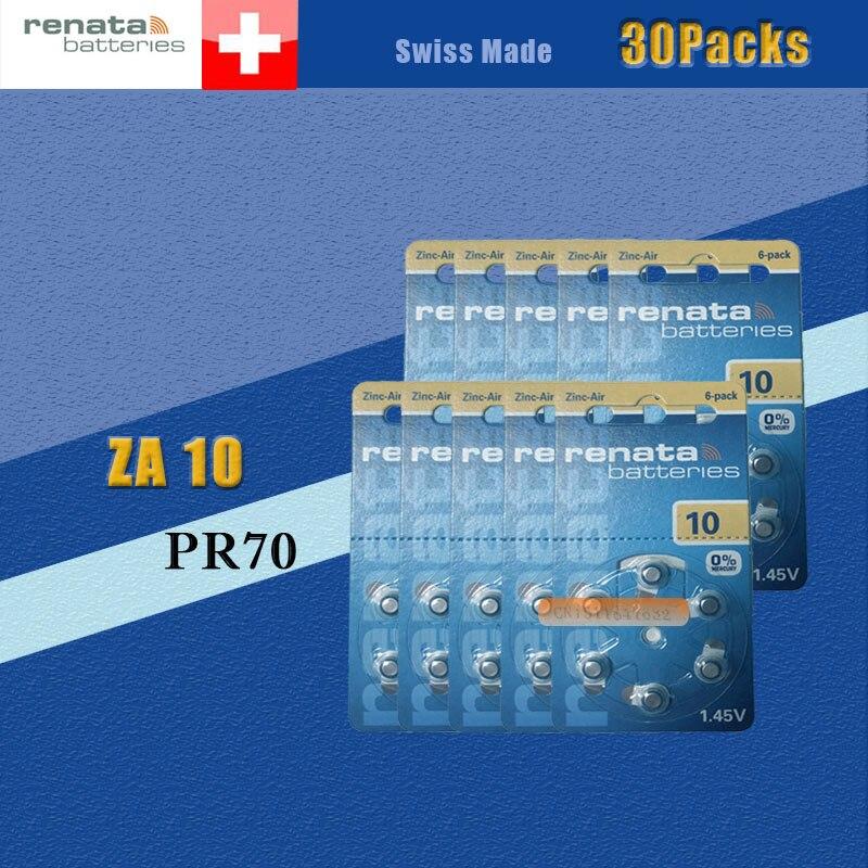 30 pacotes (180 batterys) xrenata maratone mais tamanho za10 pr70 zinco ar 1.45 v aparelho auditivo bateria