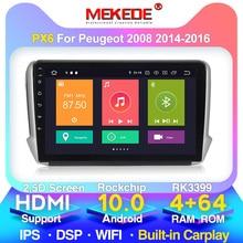 4G LTE HD 2.5D 화면 안 드 로이드 10 자동차 GPS 멀티미디어 푸조 2008 자동차 DVD 플레이어 2015 2016 2017 2018 라디오 블루투스