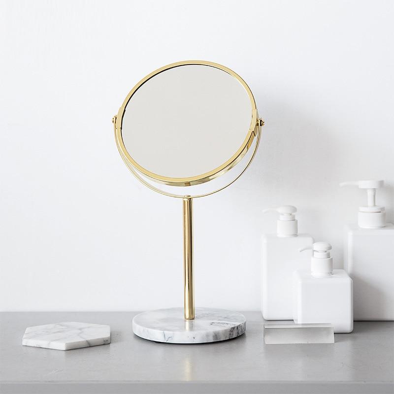 Espejo dorado con Base de mármol para maquillaje, espejo redondo de lujo con Base de mármol rosa para decoración del hogar, cosmética para oficina y dormitorio
