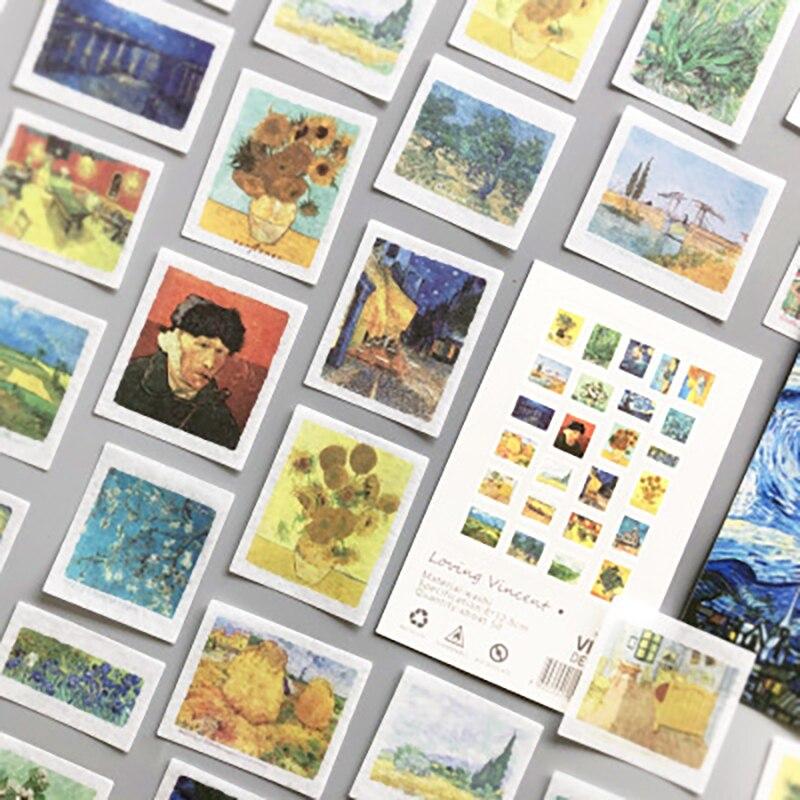 50-pz-pacco-adesivi-decorativi-retro-van-gogh-scrapbooking-stick-etichetta-diario-cancelleria-album-diario-pianificatori-adesivi