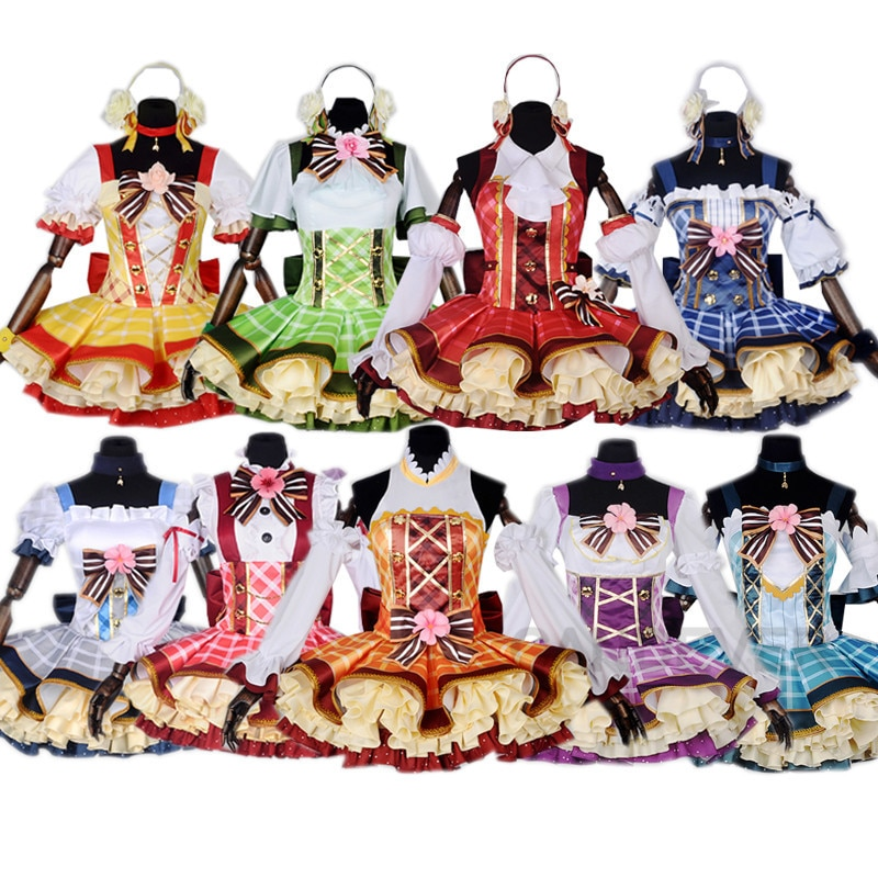 Lovelive amor ao vivo bouquet mão flor despertar cosplay eli ayase tojo nozomi lolita vestido amor ao vivo hanayo uniformes trajes