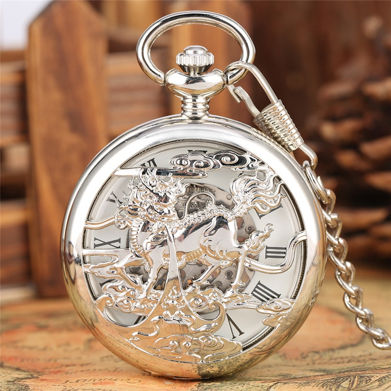 Vintage Unisex Mechanical Hand-winding Pocket Watch Silver Hollow Out Kirin Men Women Skeleton Clock with Pendant Chain Reloj