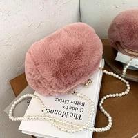 winter plush fashion shoulder bags female soft handbags messenger pack new cute women clutch purse solid color pearl chain tote