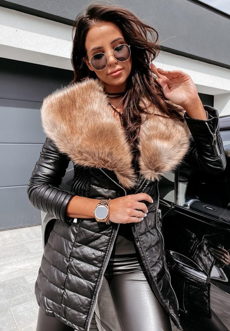 Jacket Women Faux Fur Long Sleeve Zipper Jackets Winter Warm Outdoor Long Plus Size Parka Coat Outerwear S-5XL 2021 New