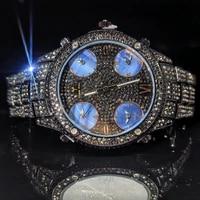 missfox black full diamond mans quartz watch high end business large round dial gentleman watches stainless steel watch for men