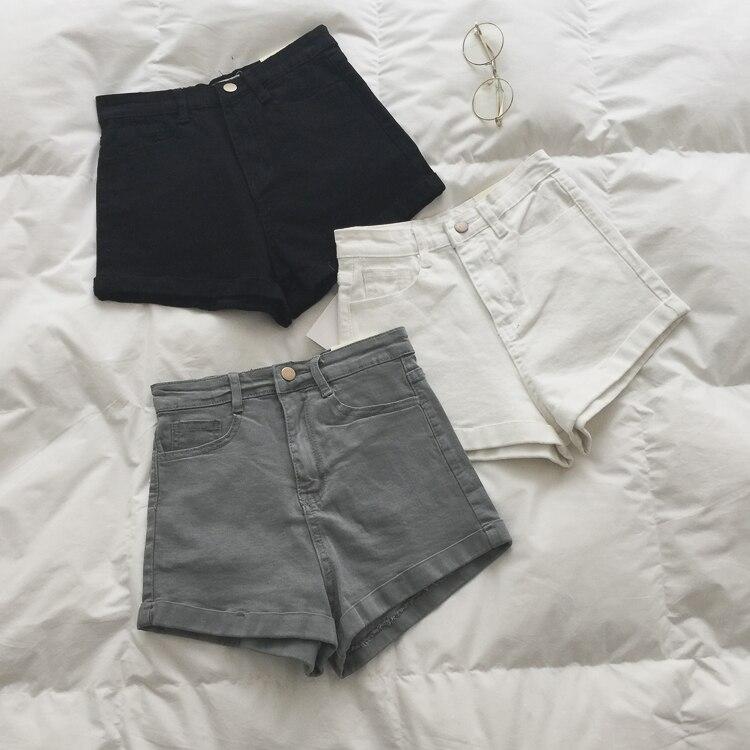 2020 sommer Frauen Jeans Hosen Schwarz Short Solide Hohe Taille Jenas Shorts Frauen Jeans