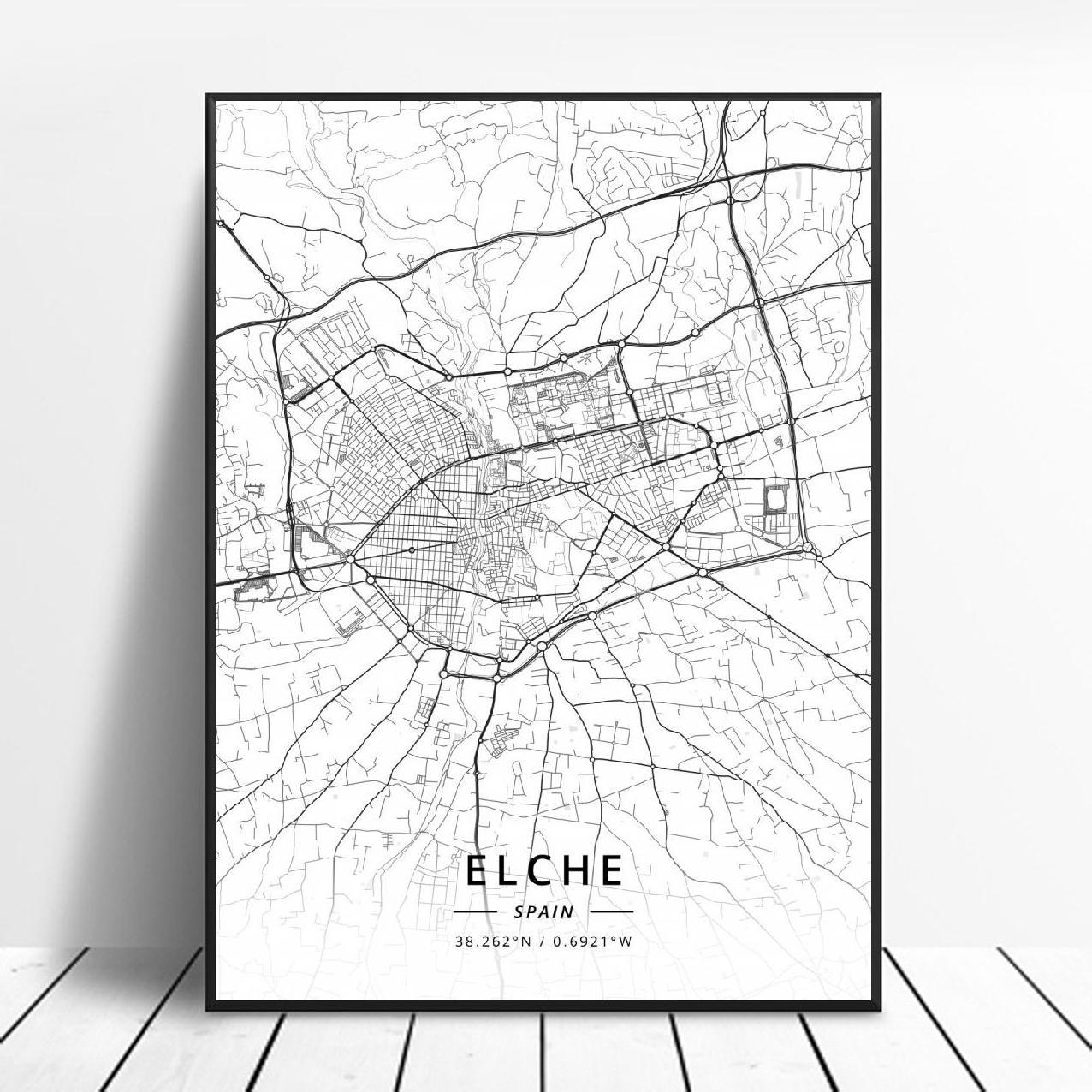 Elche Pamplona Vitoria-Gasteiz Madrid Albacete Santander Oviedo Spain Canvas Art Map Poster