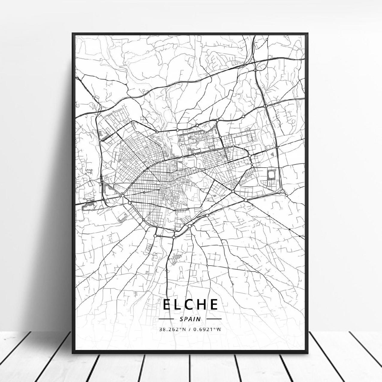 Póster de mapa de arte de España, Elche Pamplona vitoria-gasteiz Madrid Albacete...