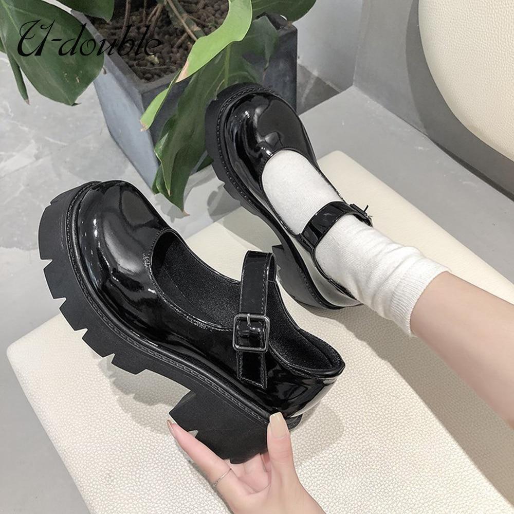 U-DOUBLE Women Shoes Japanese Style Lolita Shoes Women Vintage Soft High Heel Platform shoes College