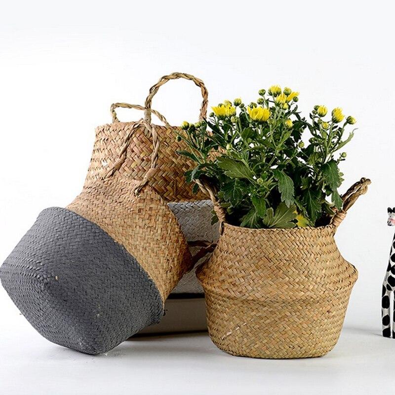 Canastos de almacenaje de bambú hechos a mano canasta de mimbre para el jardín de estilo nórdico cesta para la colada