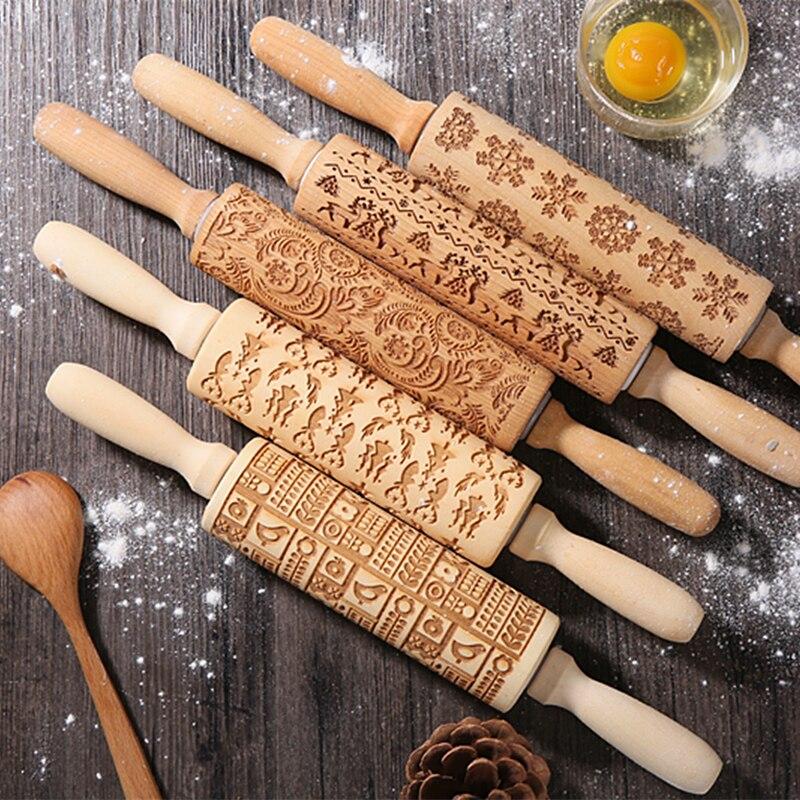 Rodillo enrollable Manual para manualidades grabado con patrones de diseño, rodillo de madera para hornear, herramientas de cocina para galletas en relieve, regalo de Navidad