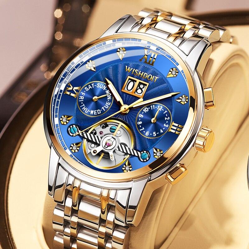 WISHDOIT Swiss Watch Men's Mechanical Automatic Hollow Watch Large Dial Waterproof Luminous 2021 New Men's Fashion Watch Luxury