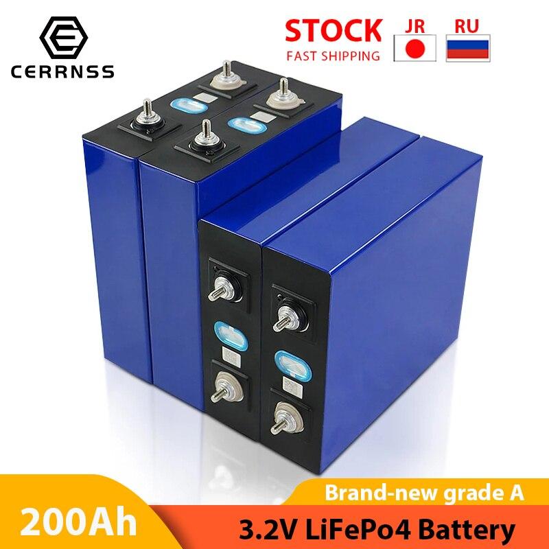 4 قطعة 3.2V 100AH 200AH 280AH 320AH LiFePO4 بطارية 12V 24V قابلة للشحن البطاريات الكهربائية دراجة نارية سيارة الشمسية بطارية العاكس