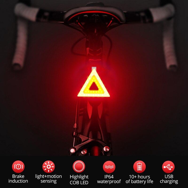 Bicycle Light Smart Auto Start/Stop Brake Sensing Bike light Flashlight USB Rechargeable 5 Models Cycling Light