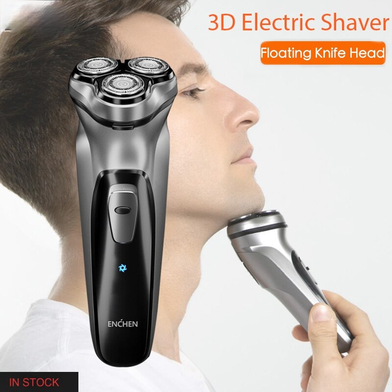 Enchen-Afeitadora electrica 3D de piedra negra para hombre y maquina de afeitar...