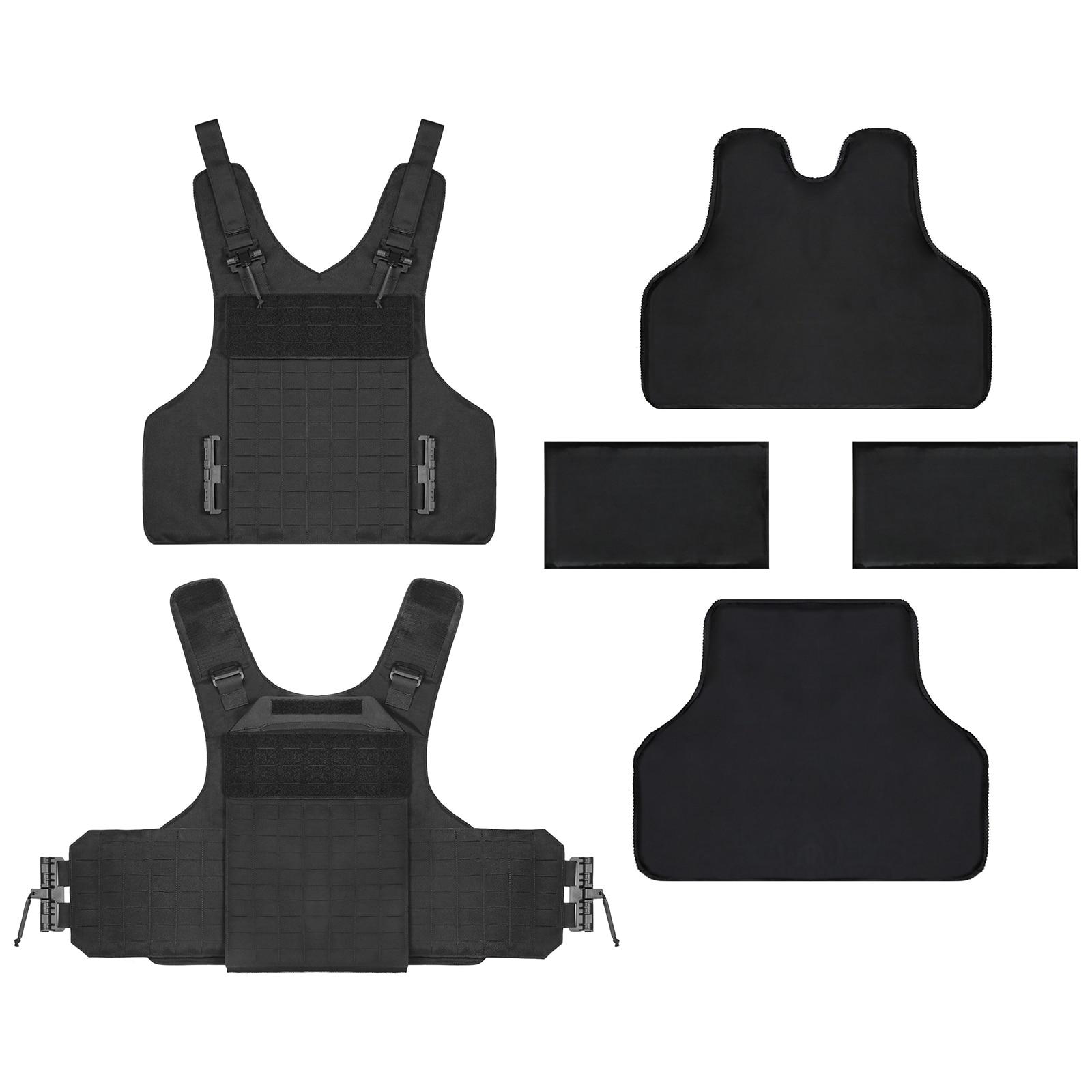 Buffalo Outdoor Wearproof Tactical Vest Anti-stab Tactical Gear Set - Black